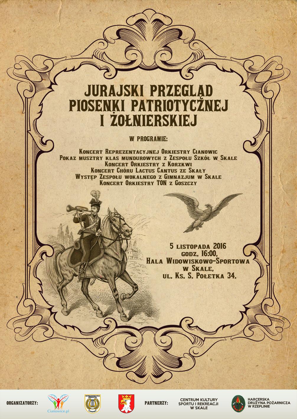 Jurajski Przegląd Piosenki Patriotycznej i Żołnierskiej @ Hala Widowiskowo-Sportowa | Skała | małopolskie | Polska