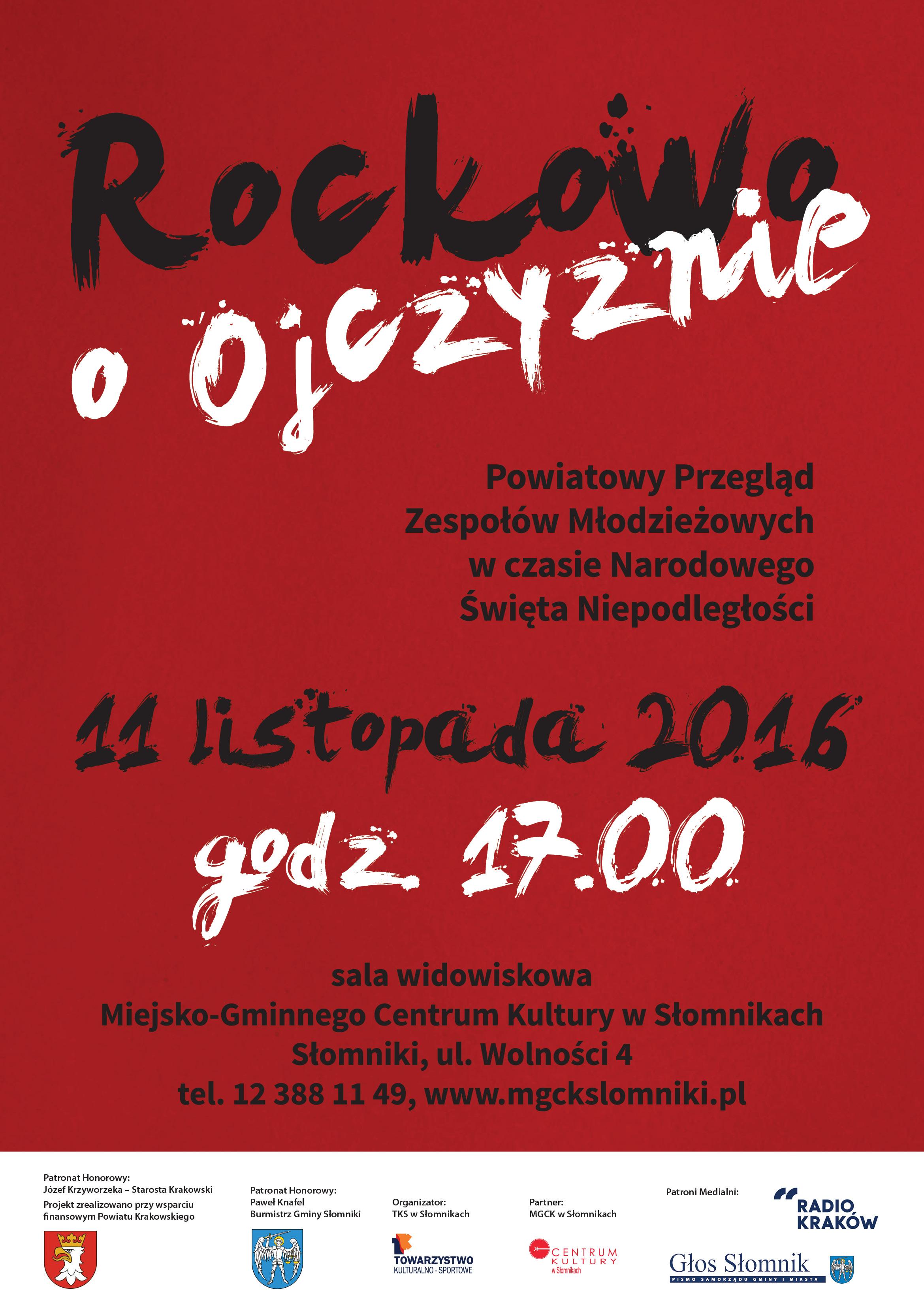 Przegląd Rockowo o Ojczyźnie @ Sala widowiskowa MGCK | Słomniki | małopolskie | Polska