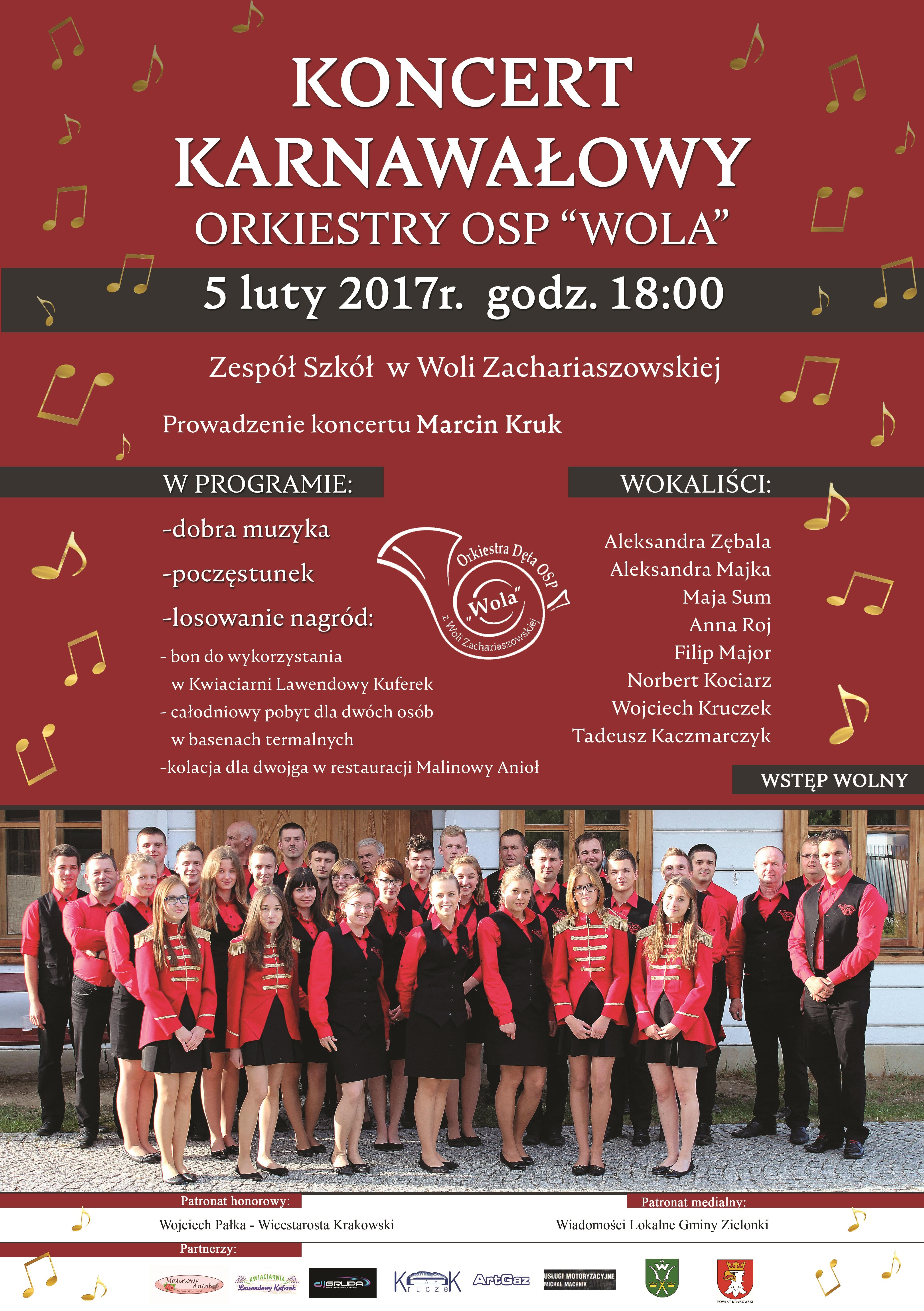 """Koncert Karnawałowy Orkiestry OSP """"WOLA"""" @ Zespół Szkół w Woli Zachariaszowskiej   Wola Zachariaszowska   małopolskie   Polska"""