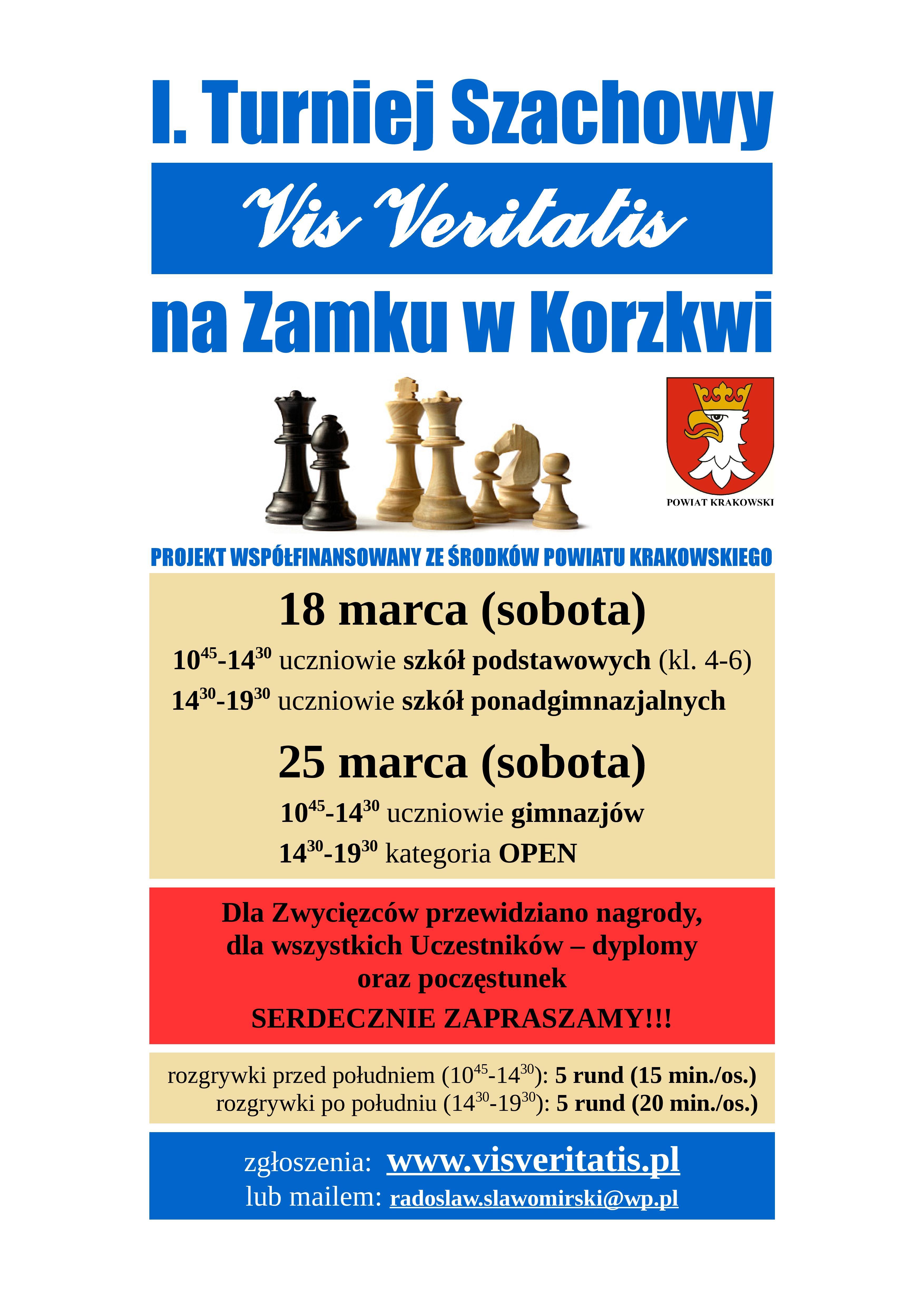 I Turniej Szachowy Vis Veritatis na zamku w Korzkwi @ Zamek w Korzkwi | Korzkiew | małopolskie | Polska