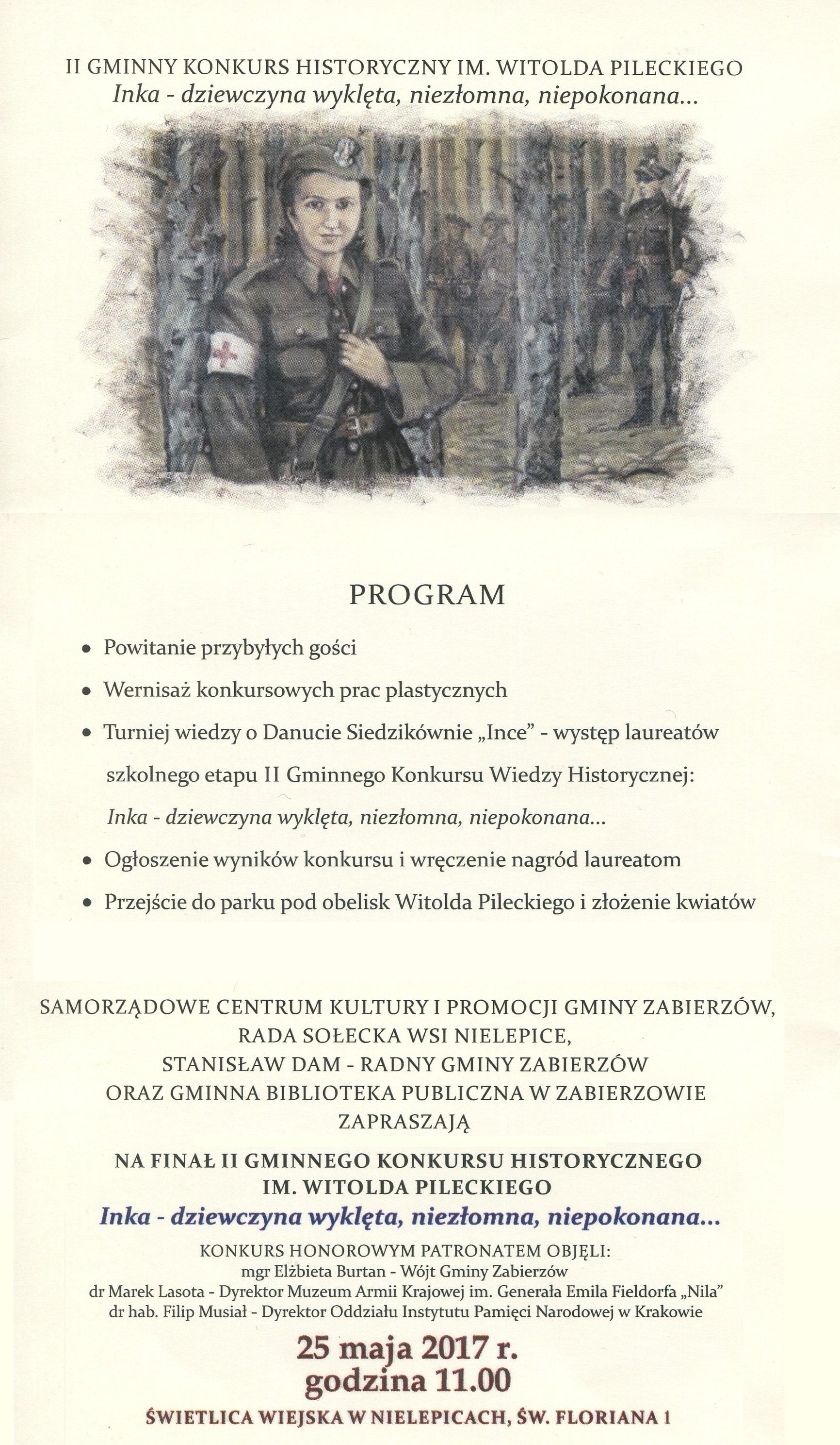II Gminny Konkurs Historyczny im. Witolda Pileckiego @ Świetlica Wiejska w Nielepicach | Nielepice | małopolskie | Polska
