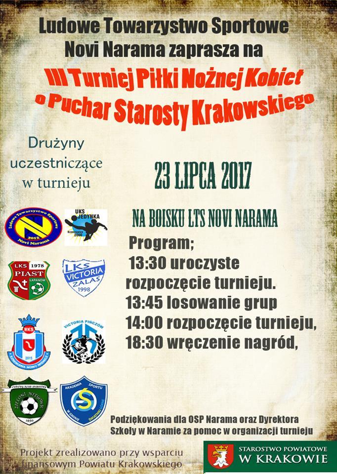 III Turniej Piłki Nożnej Kobiet o Puchar Starosty Krakowskiego @ LTS Novi Narama | Narama | małopolskie | Polska