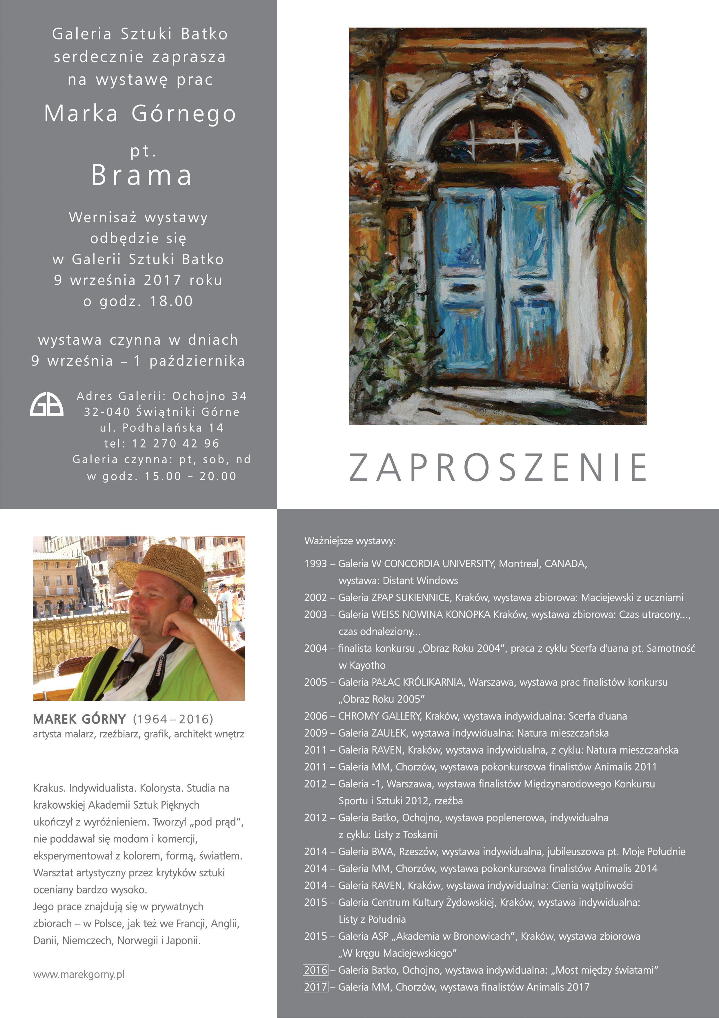 Wystawa Prac Marka Górnego pt. BRAMA (wernisaż) @ Galeria Sztuki Batko | Ochojno | małopolskie | Polska