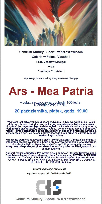 Wernisaż wystawy Czesława Dźwigaja pt. Ars - Mea Patria @ Galeria w pałacu Vauxhall | Krzeszowice | małopolskie | Polska