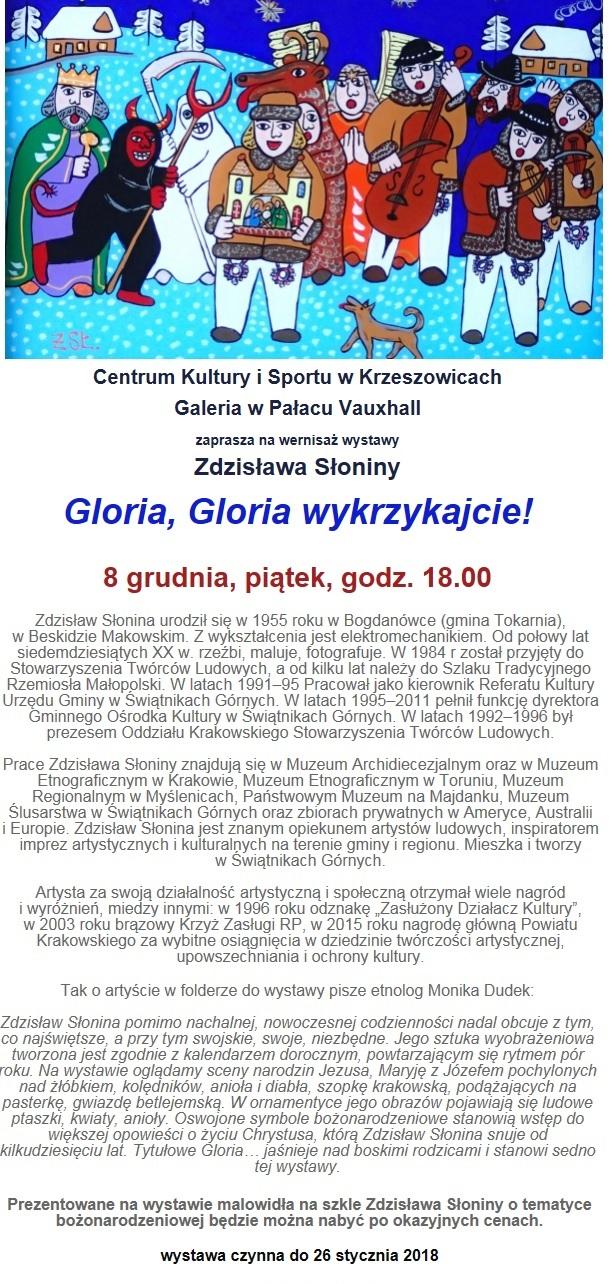 Gloria, gloria wykrzykajcie! - wernisaż wystawy Zdzisława Słoniny @ Galeria w pałacu Vauxhall | Krzeszowice | małopolskie | Polska