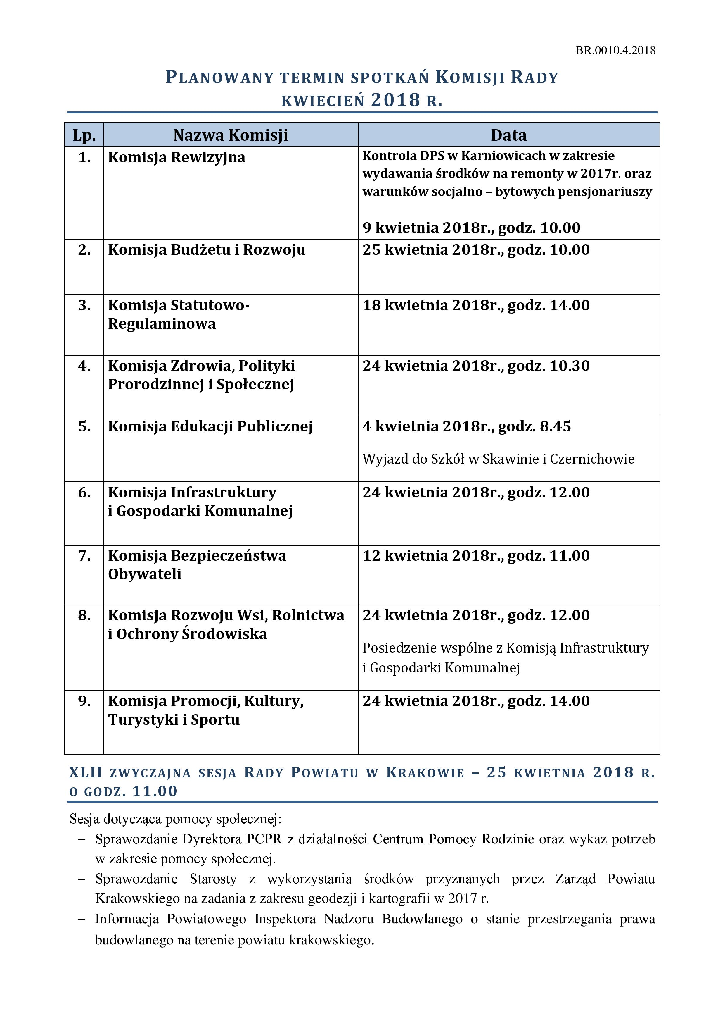 Harmonogram posiedzeń Komisji