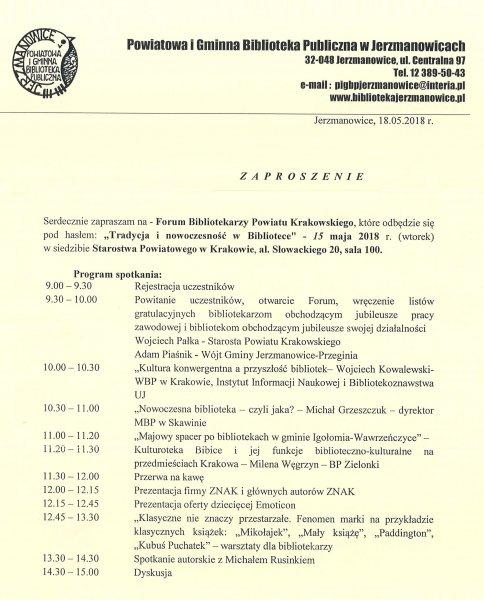 Forum Bibliotekarzy Powiatu Krakowskiego @ Starostwo Powiatowe w Krakowie - sala 100 | Kraków | małopolskie | Polska