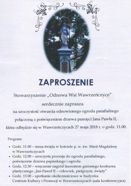 Otwarcie odnowionego ogrodu parafialnego w Wawrzeńczycach @ Wawrzeńczyce | małopolskie | Polska