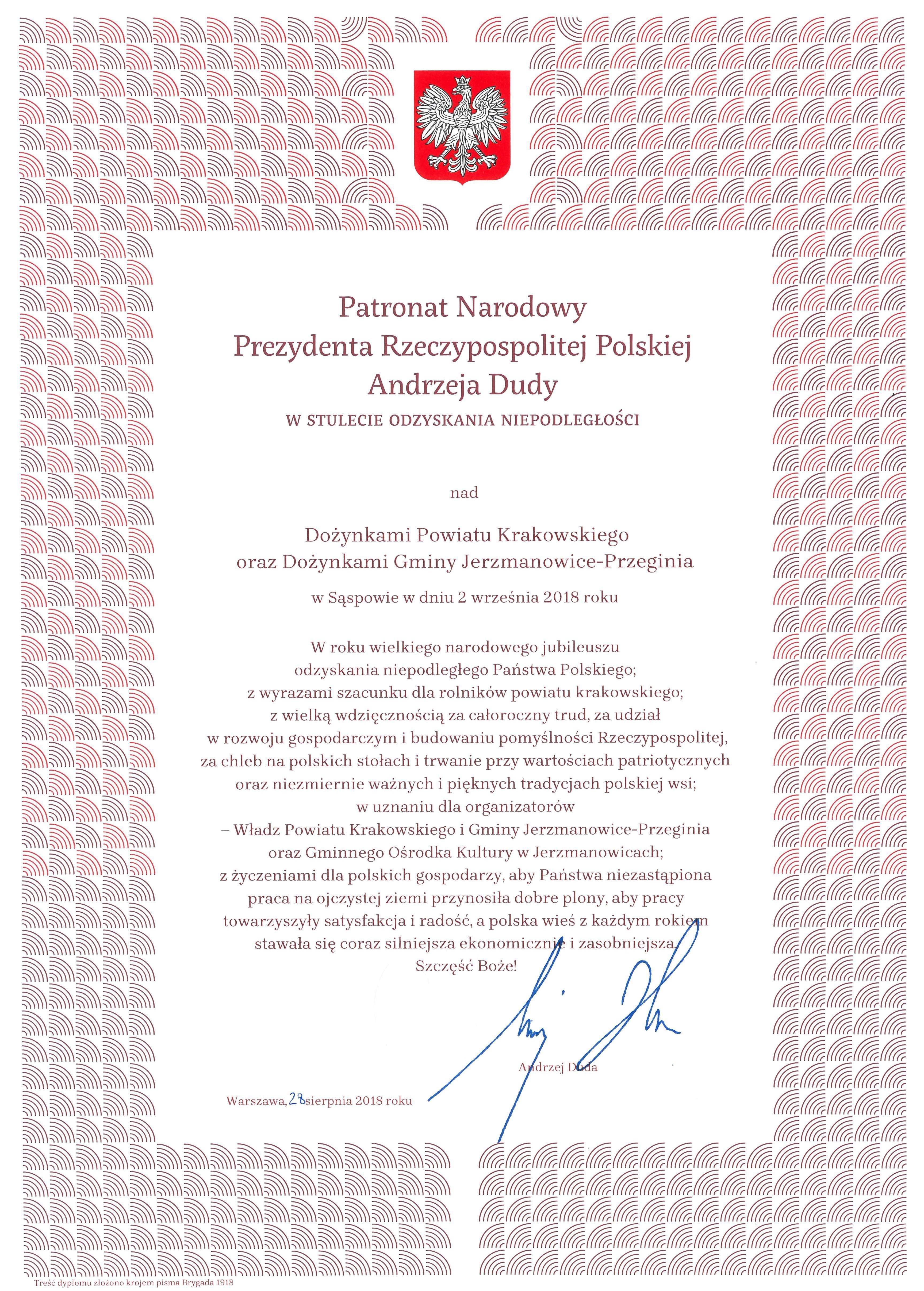 Patronat Narodowy Prezydenta RP Andrzeja Dudy w Stulecie Odzyskania Niepodległości