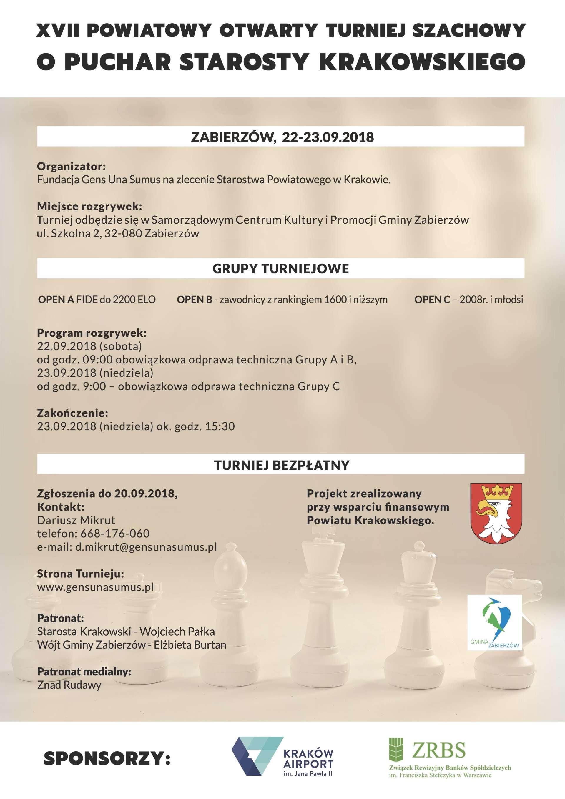 XVII Powiatowy Otwarty Turniej Szachowy o Puchar Starosty Krakowskiego @ Zabierzów | małopolskie | Polska