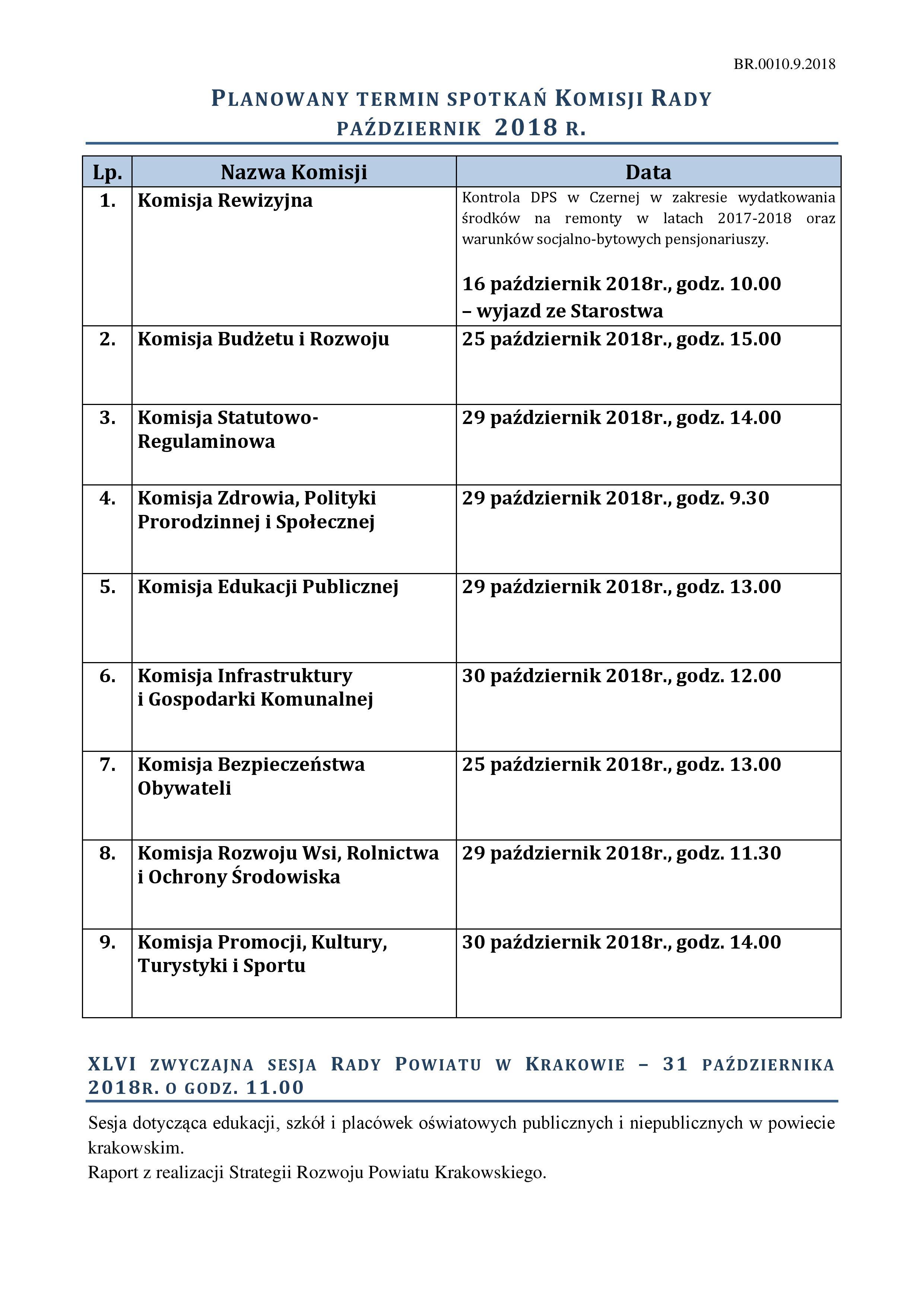 Harmonogram posiedzeń Komisji - październik 2018