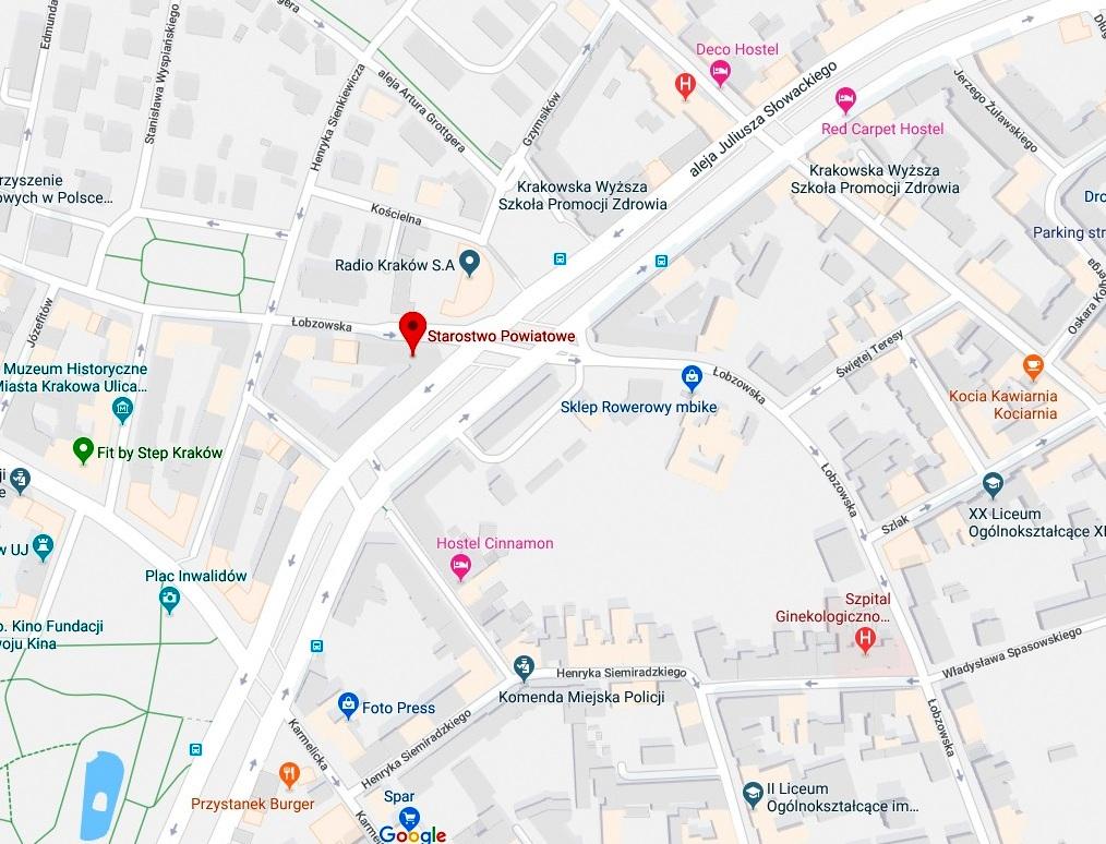 Mapa z lokalizacją siedziby głównej SPwK