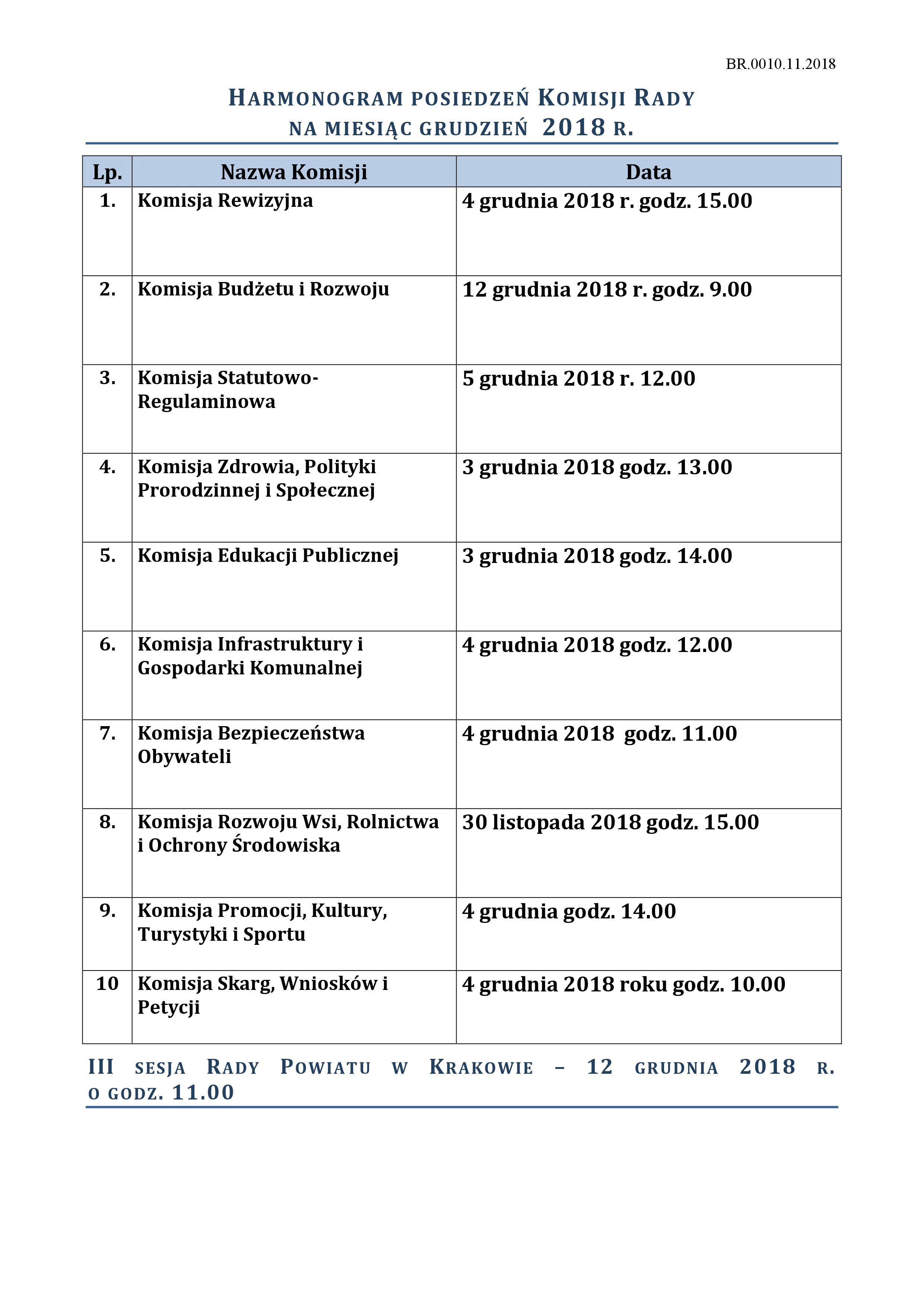 Harmonogram posiedzeń Komisji - grudzień (1) 2018