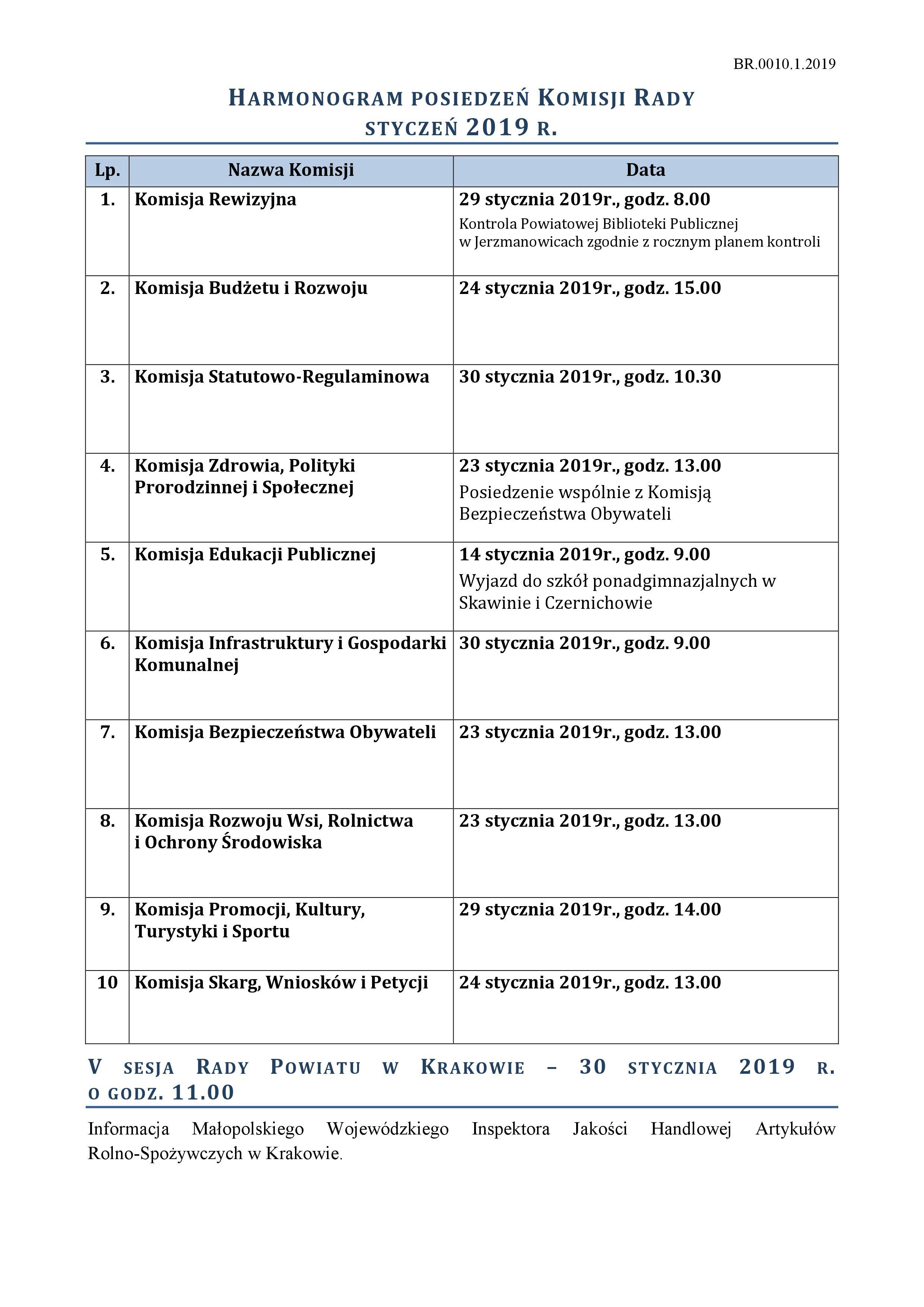 Harmonogram posiedzeń -styczeń 2019