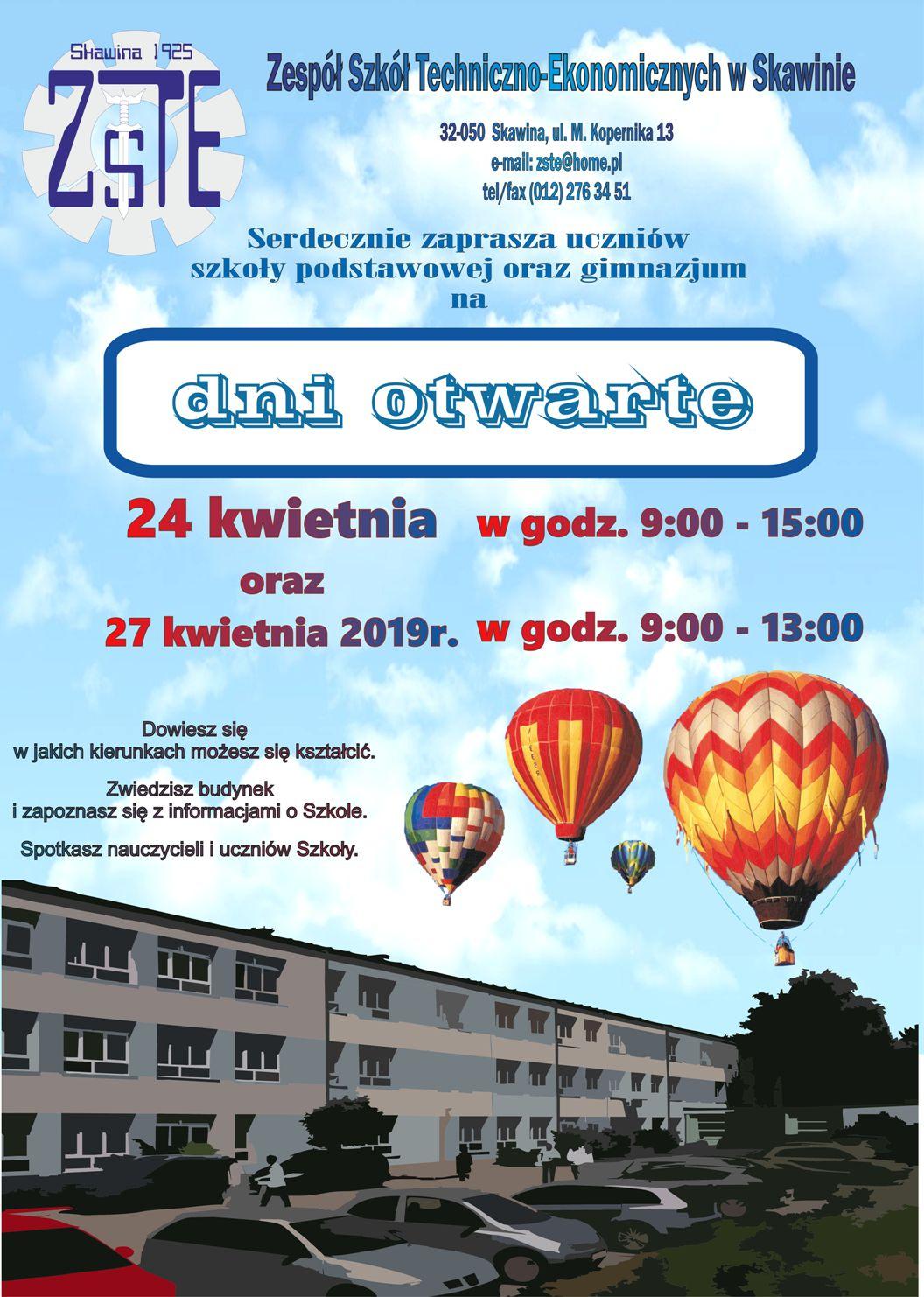 Dni otwarte w ZSTE w Skawinie @ Zespół Szkół Techniczno-Ekonomicznych w Skawinie | Skawina | małopolskie | Polska