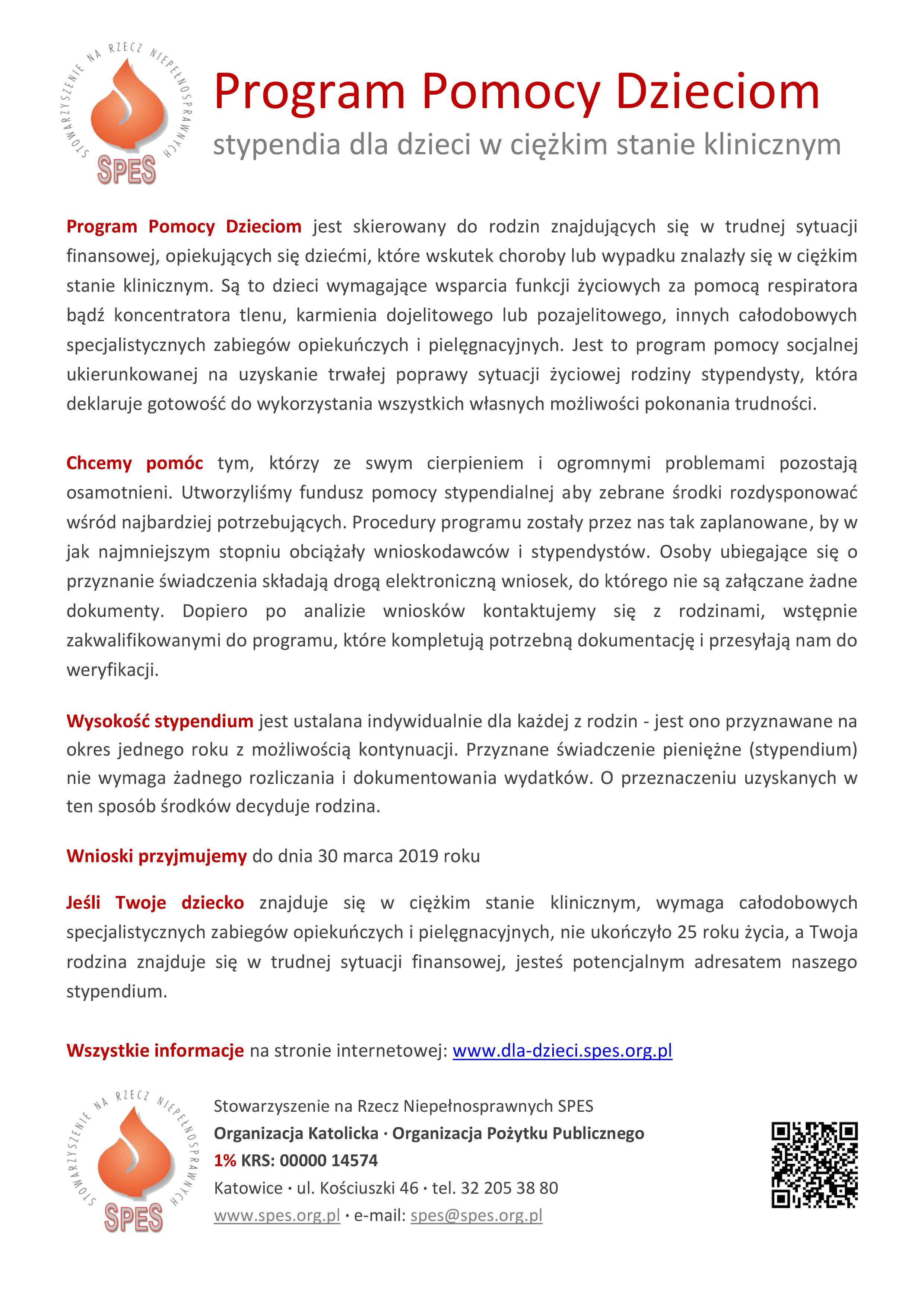 Stypendia SPES - informacje 2019