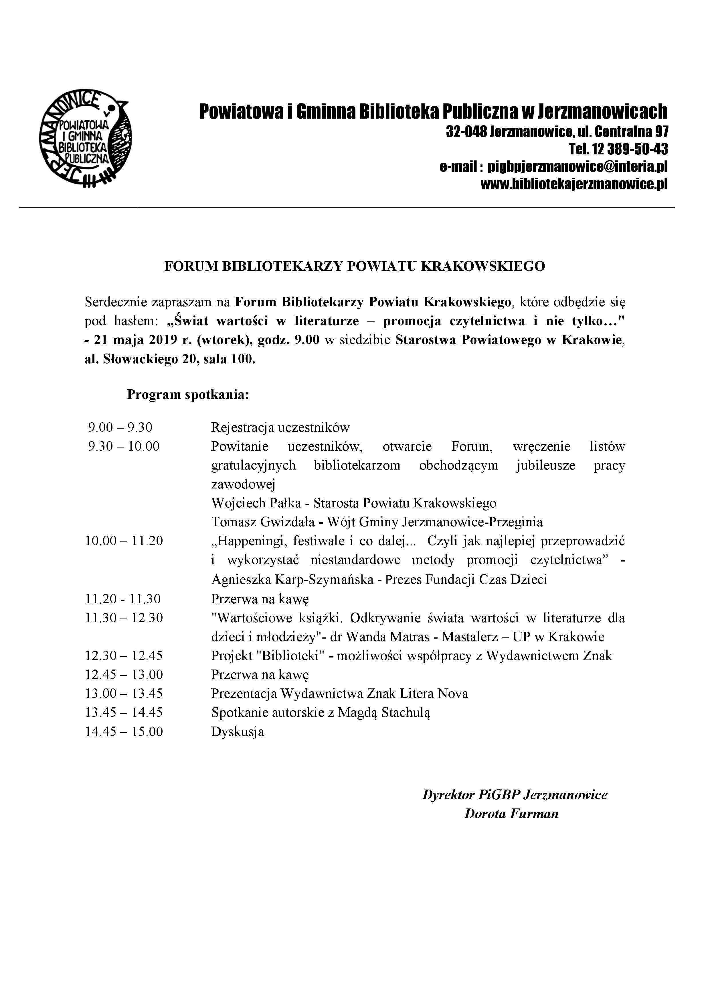 Forum Bibliotekarzy Powiatu Krakowskiego @ Starostwo Powiatowe w Krakowie, sala 100 | Kraków | małopolskie | Polska