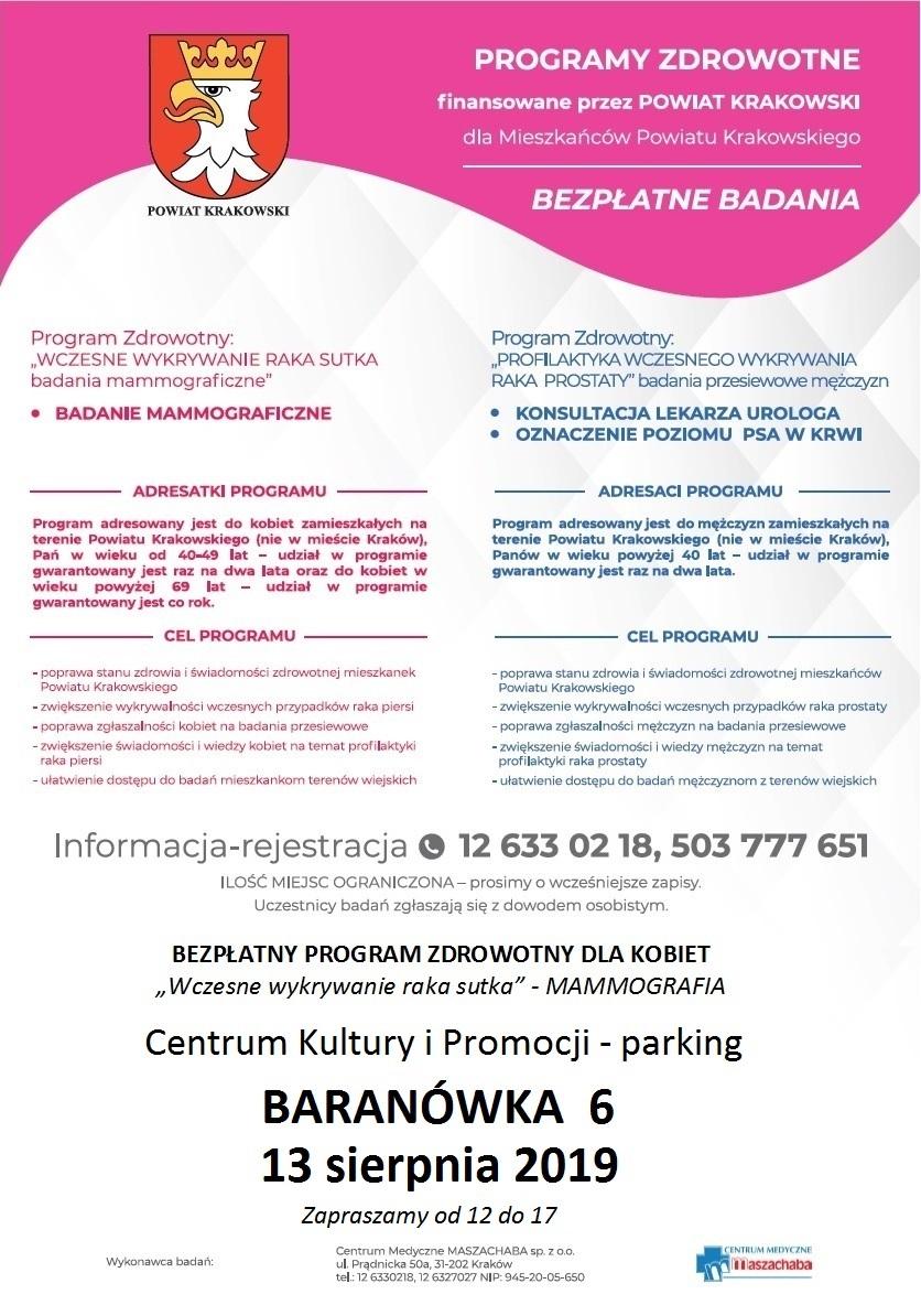 Bezpłatne badania w Baranówce @ Baranówka | małopolskie | Polska