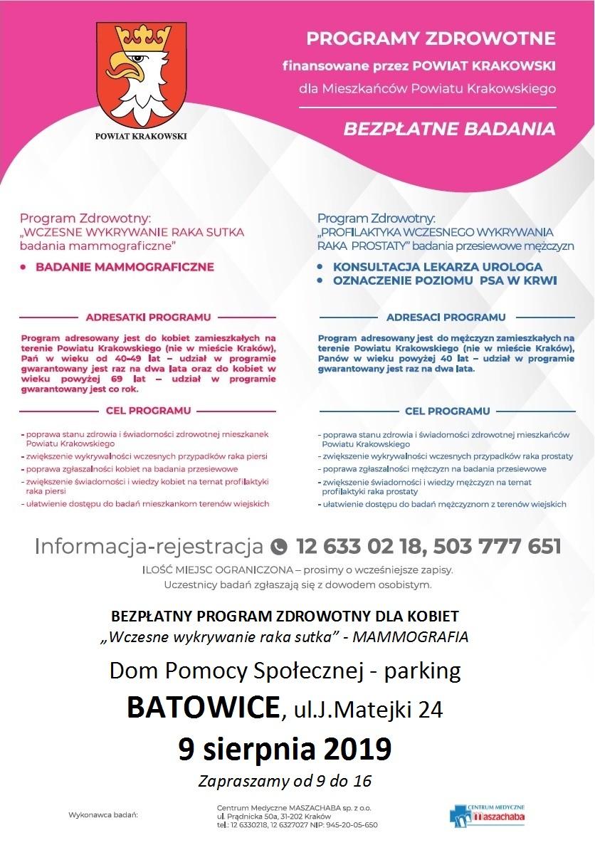 Bezpłatne badania w Batowicach @ Batowice | małopolskie | Polska