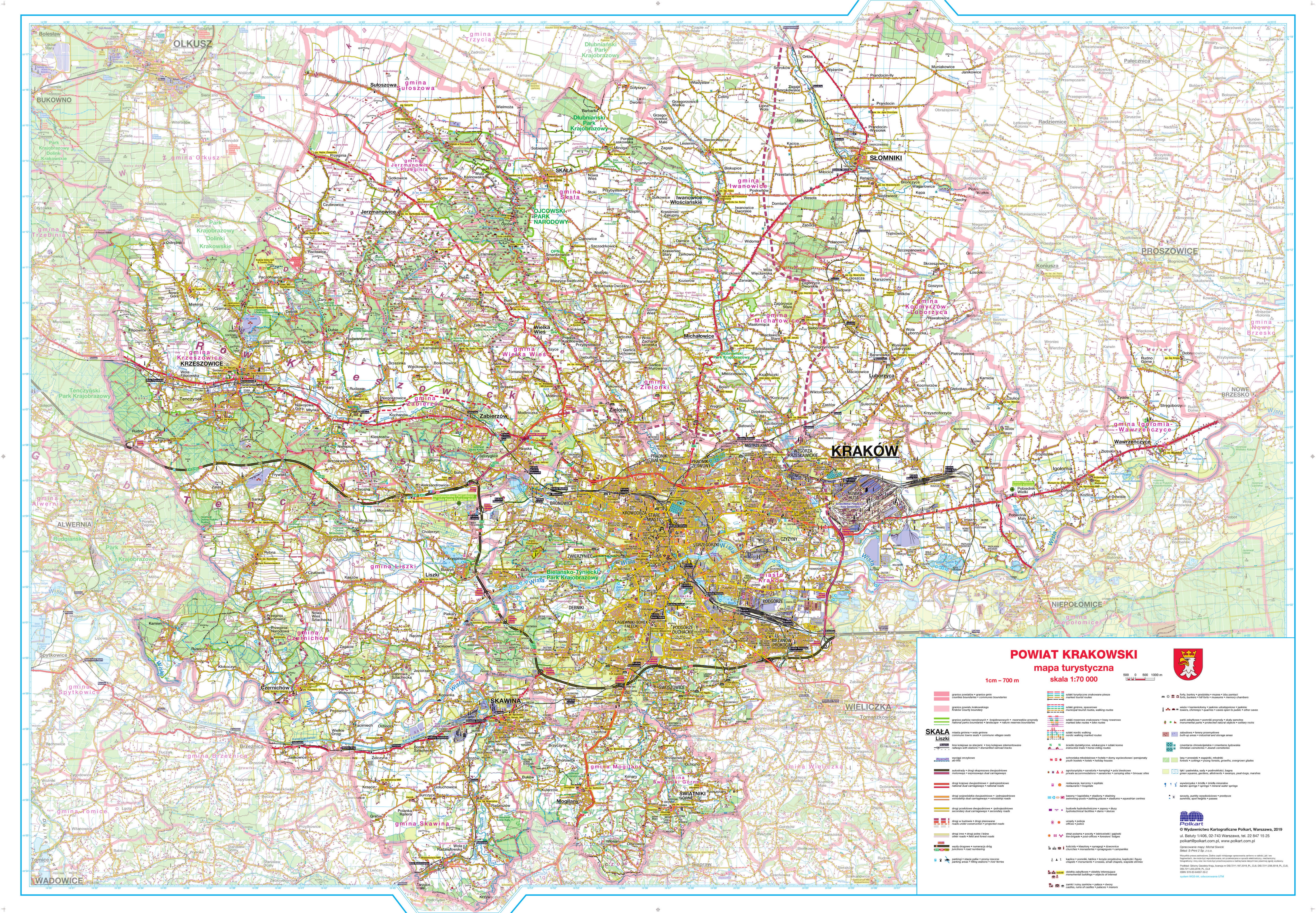 Mapa turystyczna Powiatu Krakowskiego