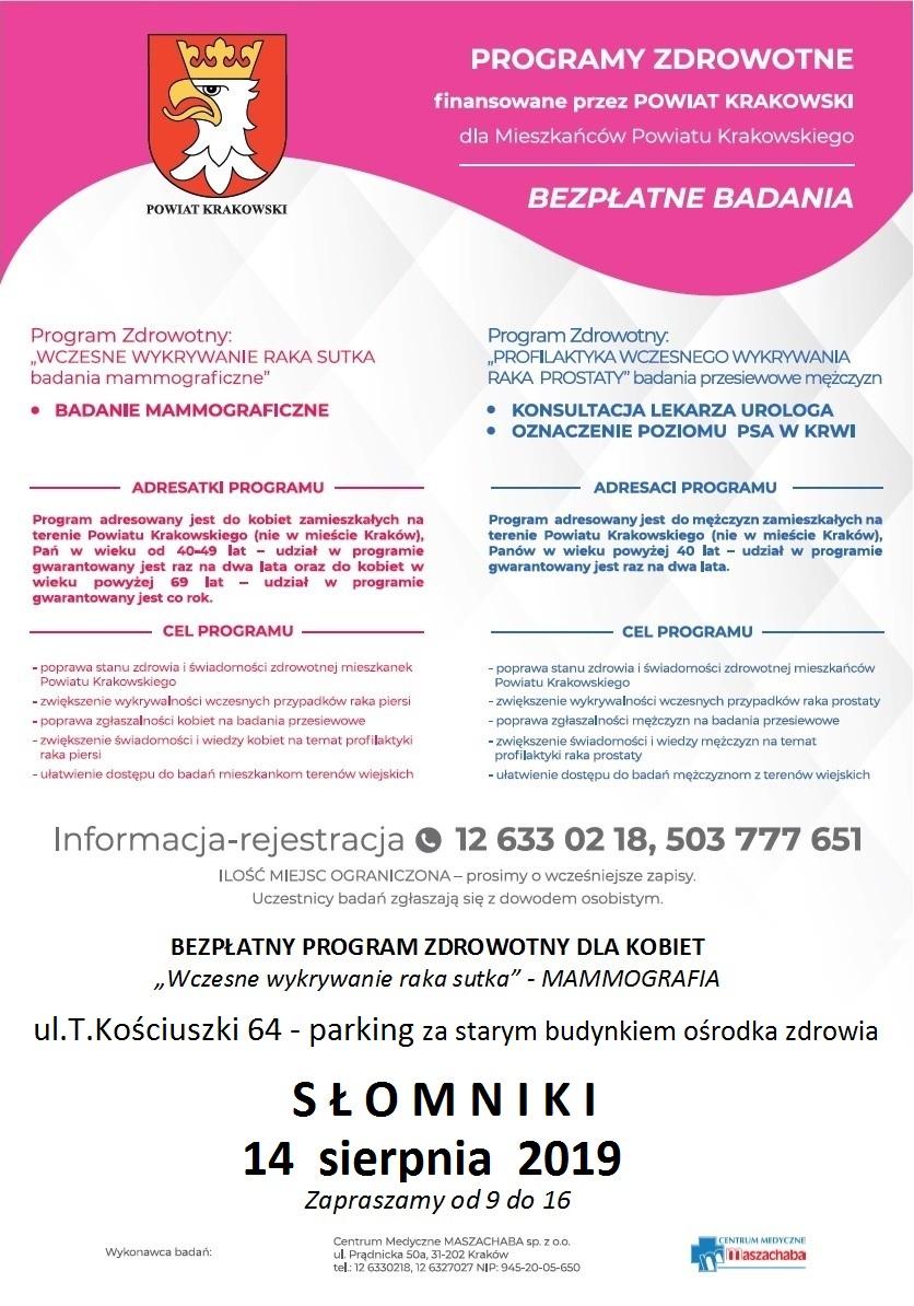 Bezpłatne badania w Słomnikach @ Słomniki | małopolskie | Polska