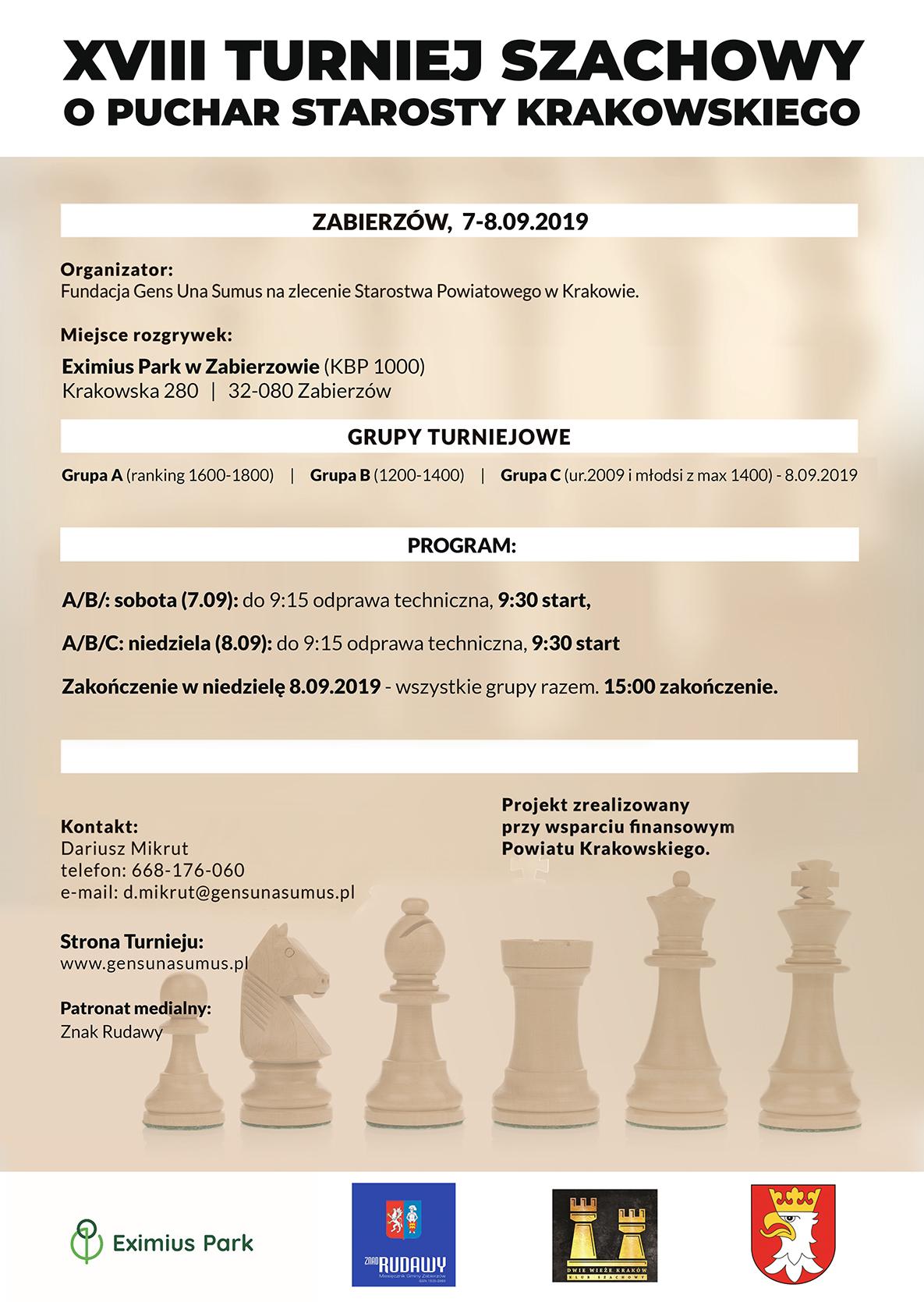 XVIII Turniej Szachowy o Puchar Starosty Krakowskiego @ Zabierzów | małopolskie | Polska