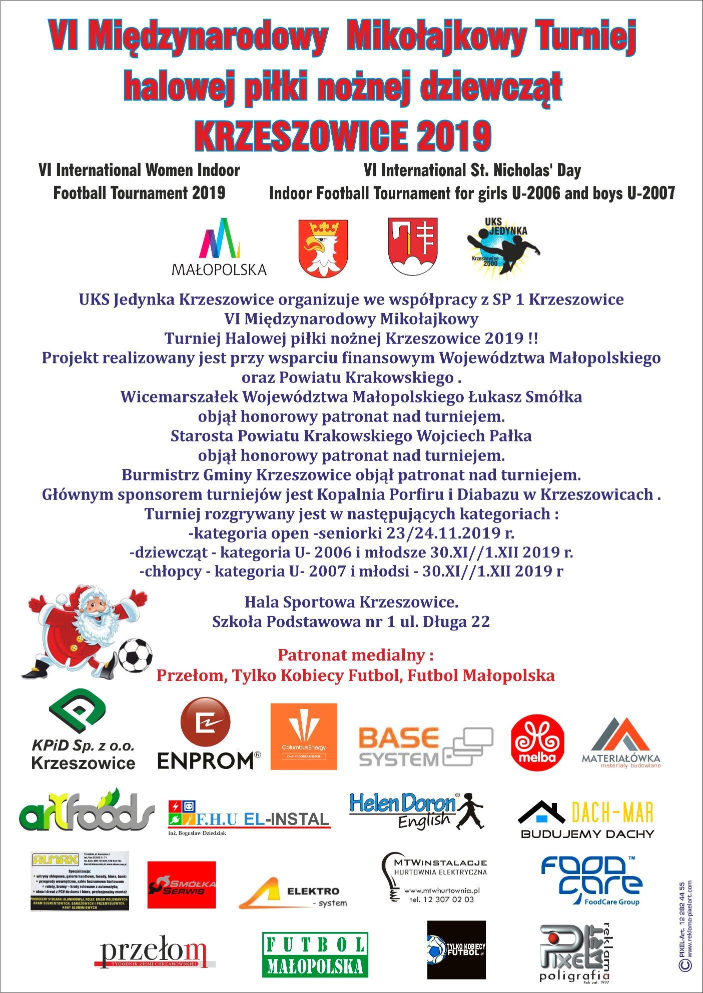 VI Międzynarodowy Mikołajkowy Turniej halowej piłki nożnej dziewcząt Krzeszowice 2019 @ Krzeszowice | małopolskie | Polska