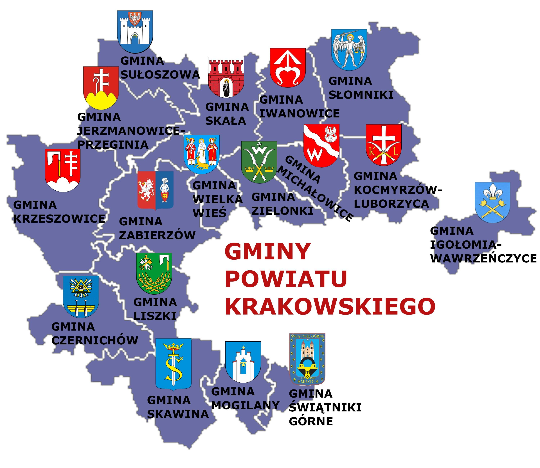 Rysunek przedstawiający mapę powiatu krakowskiego w podziale na gminy