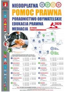 Plakat o nieodpłatnej pomocy prawnej w powiecie krakowskim