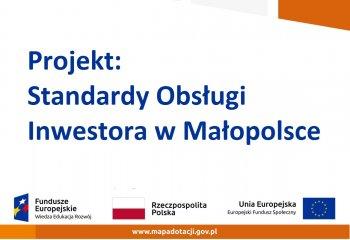 Baner projektu Standardy Obsługi Inwestora w Małopolsce