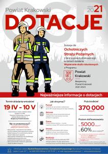 Plakat z treścią zgodną z treścią artykułu oraz wizerunkiem dwóch strażaków