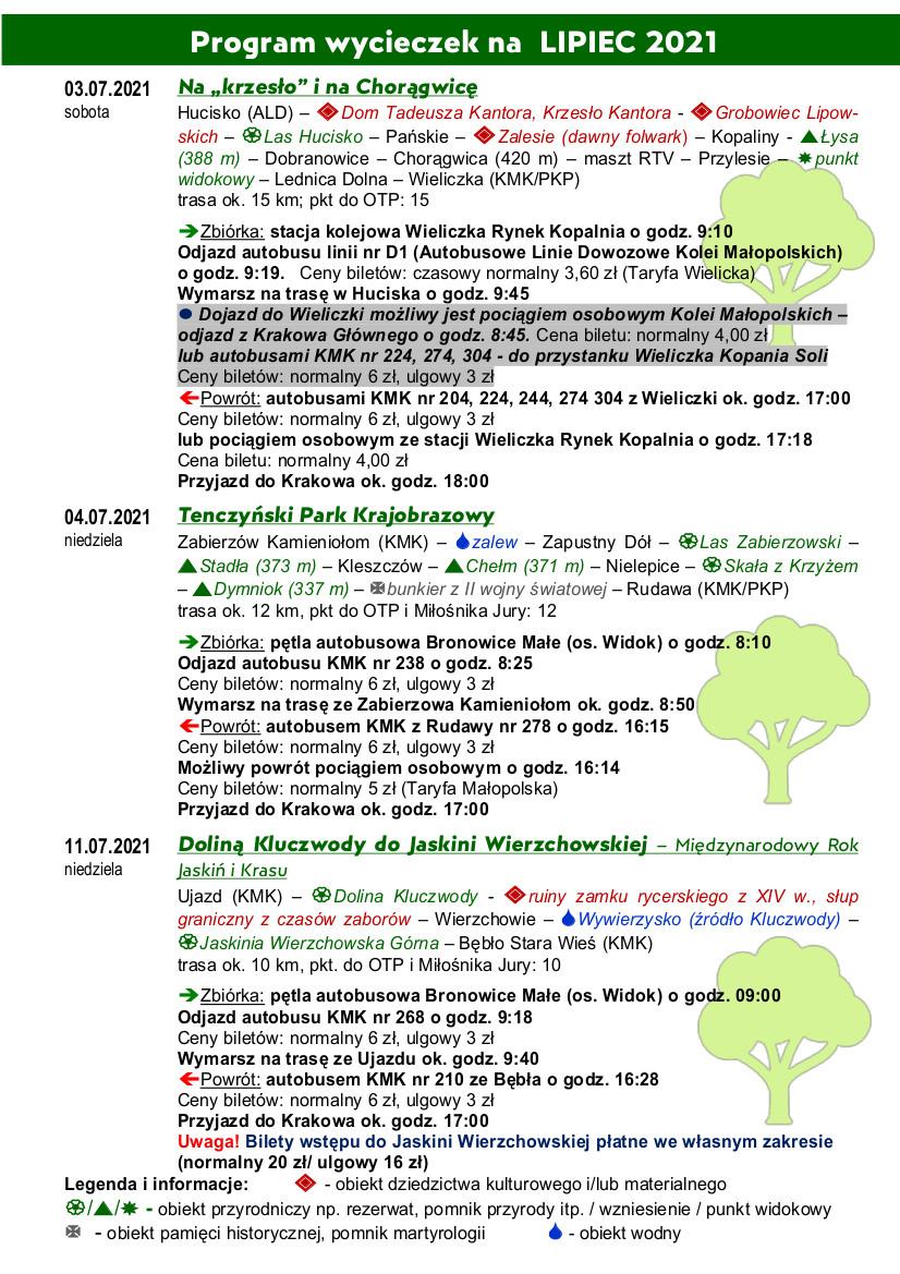 Program wycieczek które odbędą się 3,4,11,17,18,25 i 31 lipca - strona1