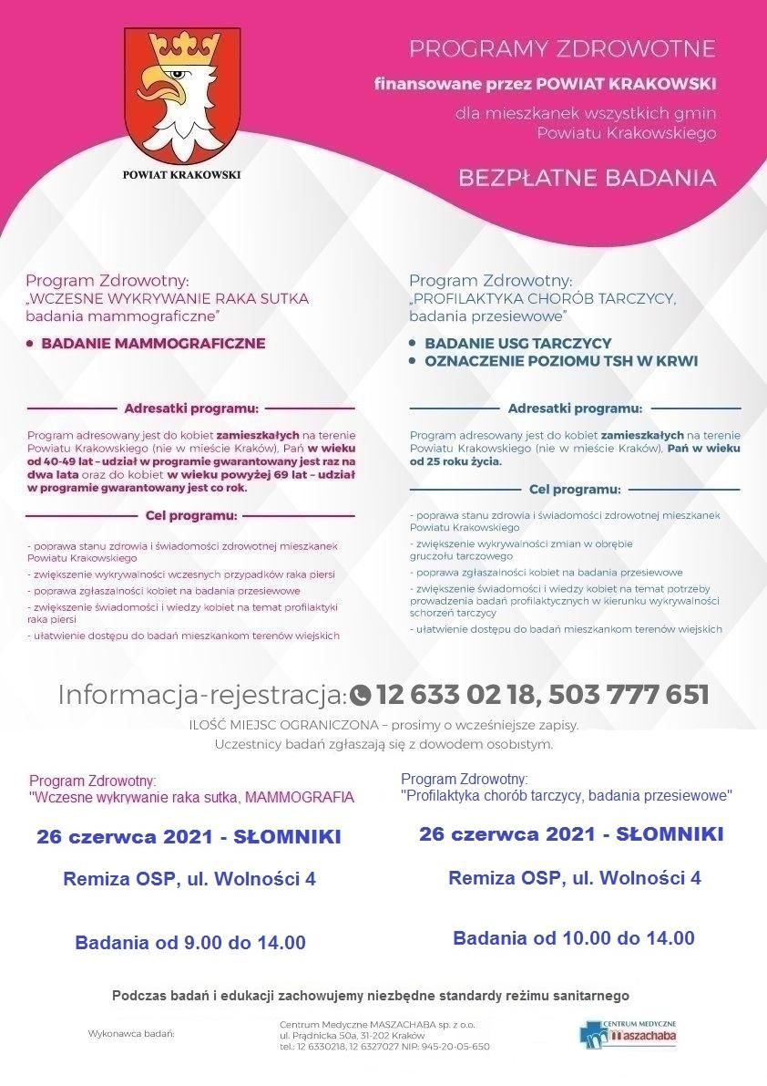 Badania mammograficzne oraz badania tarczycy w Słomnikach