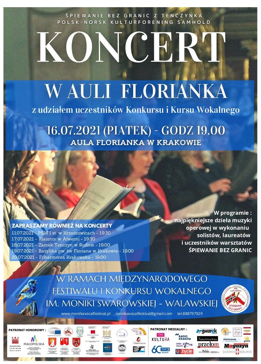 Koncert w Auli Florianka - Międzynarodowy Festiwal i Konkurs Wokalny im. Moniki Swarowskiej-Walawskiej