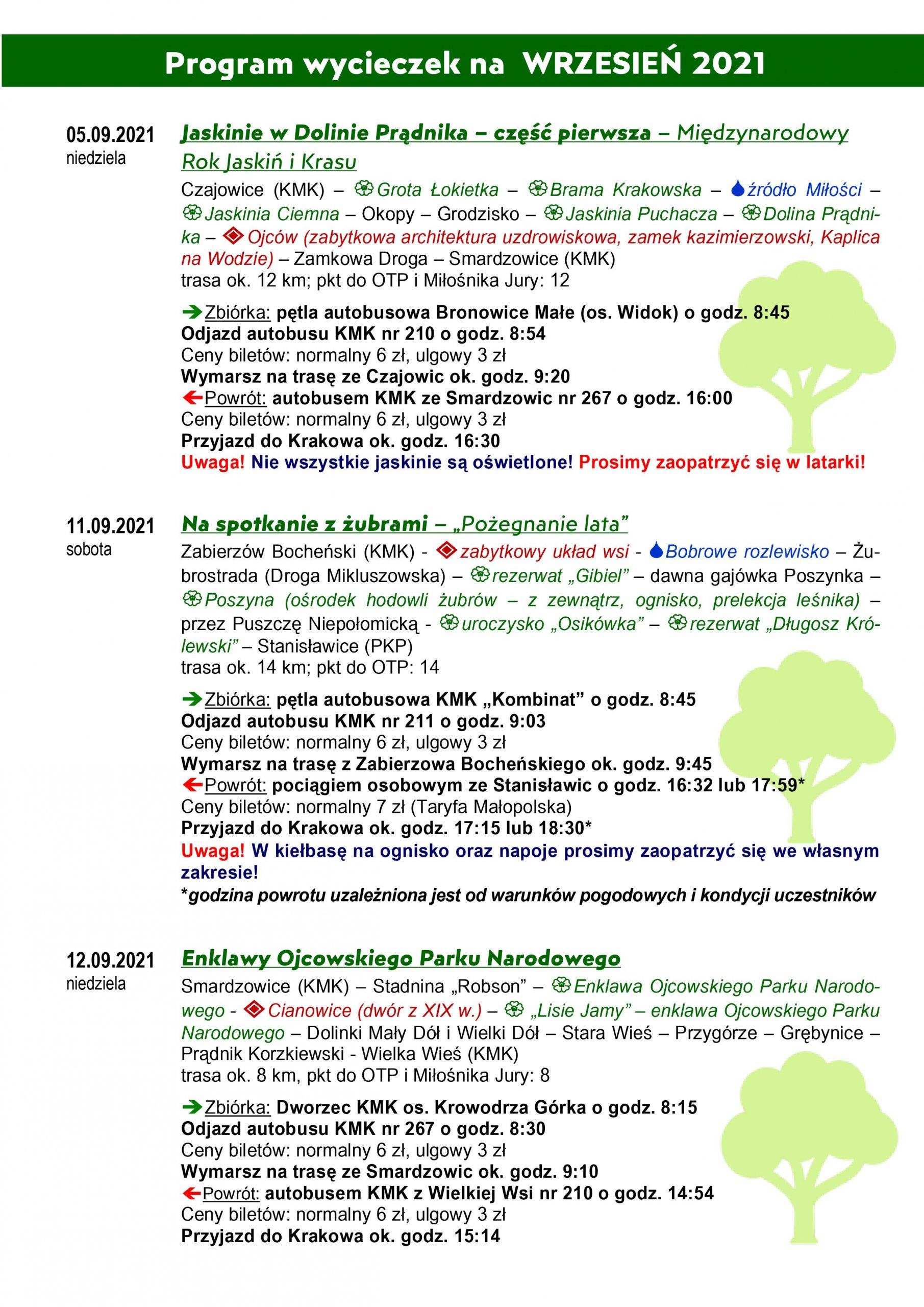 Program wycieczek do Jaskini w dolinie Prądnika, Na spotkanie z żubrami, Enklawy Ojcowskiego Parku Narodowego
