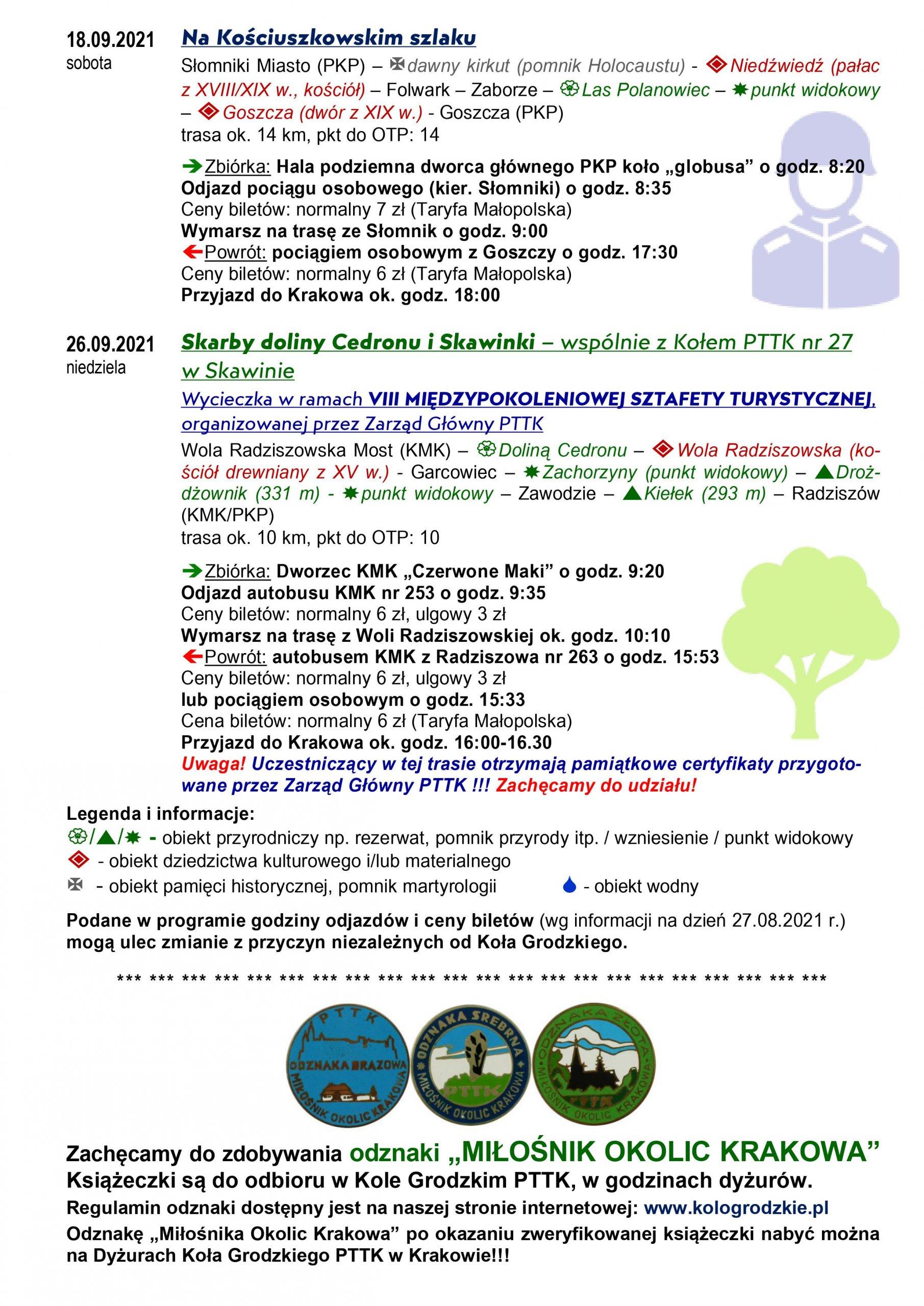Program wycieczek: Na Kościuszkowskim szlaku oraz Skarby doliny Cedronu i Skawinki