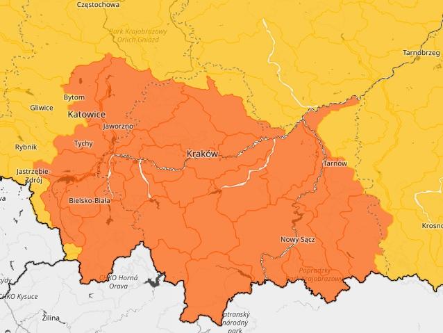 Mapa terenu na którym obowiązuje ostrzeżenie hydrologiczne drugiego stopnia