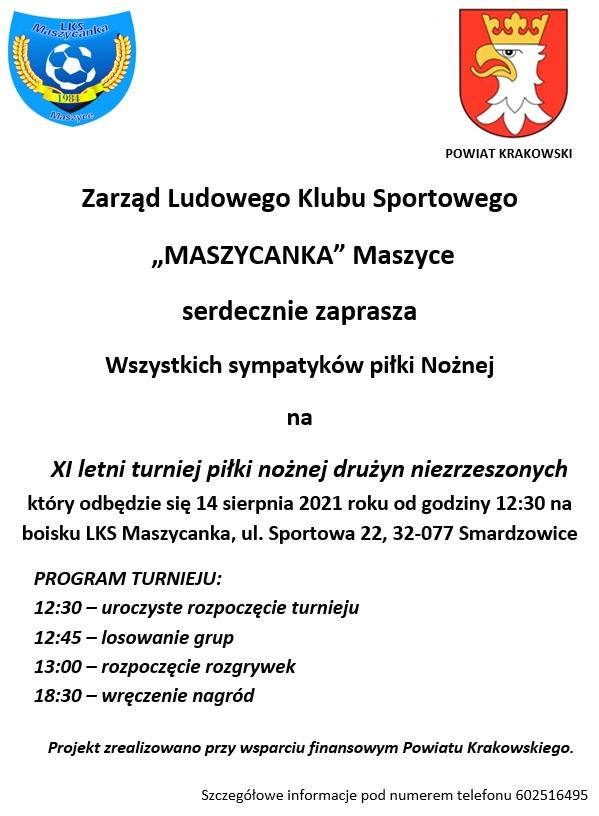 XI letni turniej piłki nożnej drużyn niezrzeszonych @ LKS Maszycanka, ul. Sportowa 22, 32-077 Smardzowice