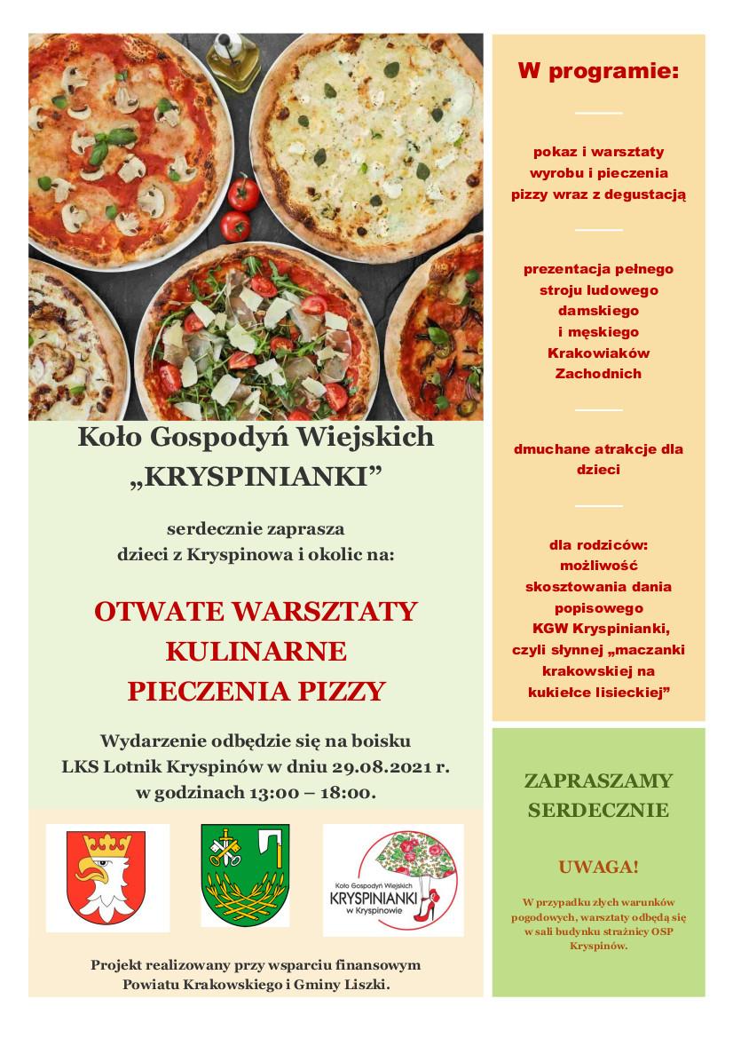 Otwarte warsztaty kulinarne pieczenia pizzy