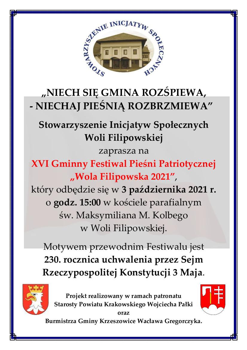 """XVI Gminny Festiwal Pieśni Patriotycznej """"Wola Filipowska 2021"""""""