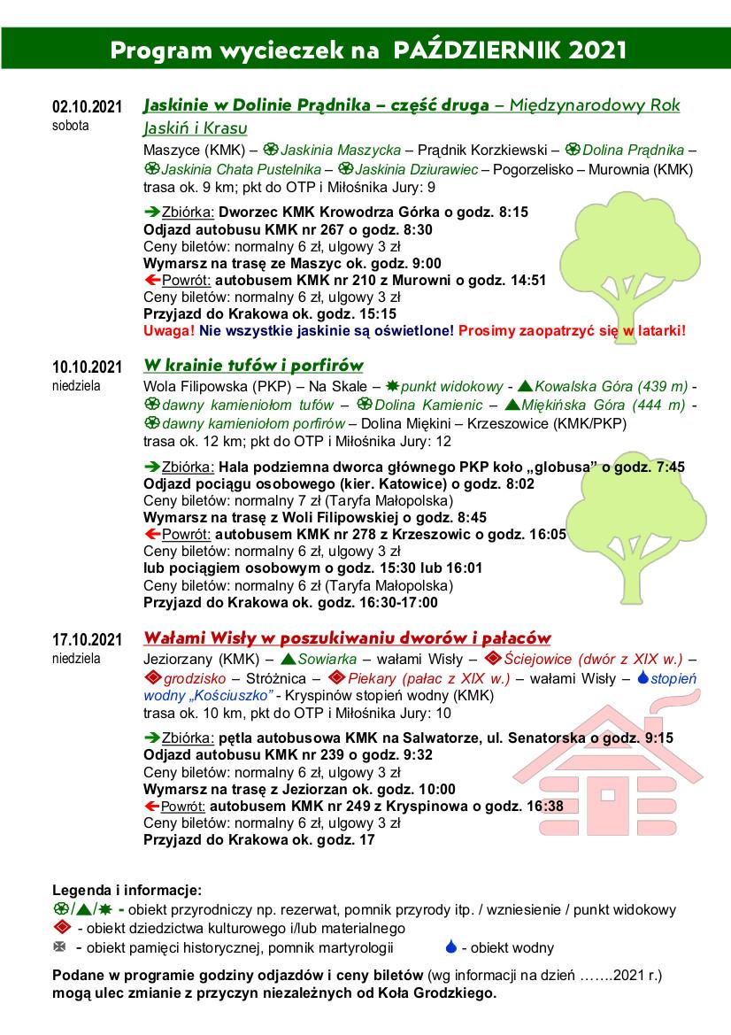 2 października - Jaskinie w Dolinie Prądnika - Zbiórka na pętli Krowodrza Górka o godz. 8:15; 10 października - W krainie tufów i porfidów - biórka w hali podziemnej dworca głównego PKP koło Globusa o 7:45; 17 października - Wałami Wisły w poszukiwaniu dworów i pałaców - zbiórka na pętli autobusowej na Salwadorze o 9:15
