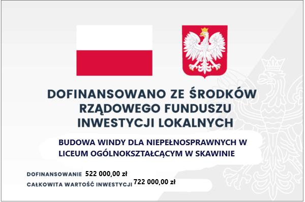 Tablica do projektu pt. budowa windy dla niepełnosprawnych w Liceum Ogólnokształcącym w Skawinie. Więcej informacji po kliknieciu w tablicę.