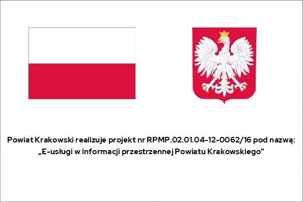 Tablica do projektu E-usługi w informacji przestrzennej Powiatu Krakowskiego. Więcej informacji po kliknięciu w tablicę.