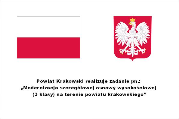 Tablica do projektu Modernizacja szczegółowej osnowy wysokościowej (3 klasy) na terenie powiatu krakowskiego. Więcej informacji po kliknięciu w tablicę.