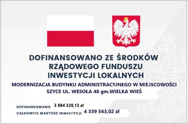 Tablica do projektu renowacji budynku administracyjnego w Szycach. Więcej informacji po kliknięciu w tablicę.
